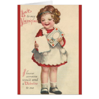 Vintage Cute Valentines Day, Girl with Love Letter Card