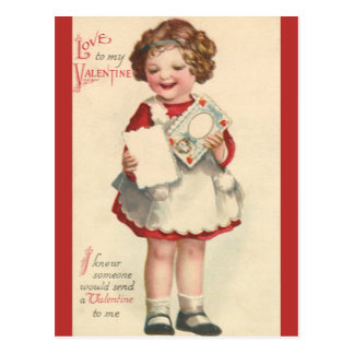 Vintage Cute Valentines Day, Girl with Love Letter Postcard