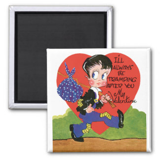 Vintage Cute Valentine's Day, Hobo Boy Heart Magnet