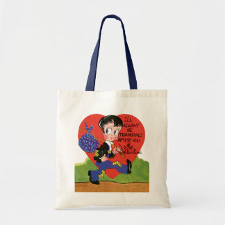 Vintage Cute Valentine's Day, Hobo Boy Heart Tote Bag
