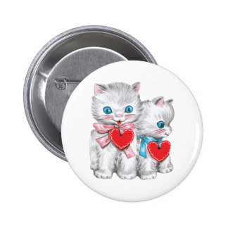 Vintage Cute Valentine's Day, Retro Kitten Cats Button