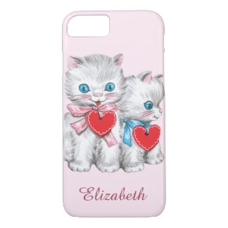 Vintage Cute Valentine's Day, Retro Kitten Cats iPhone 7 Case