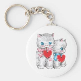 Vintage Cute Valentine's Day, Retro Kitten Cats Keychain