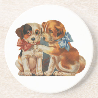 Vintage Cute Valentine's Puppy Love, Two Dog Mutts Drink Coaster