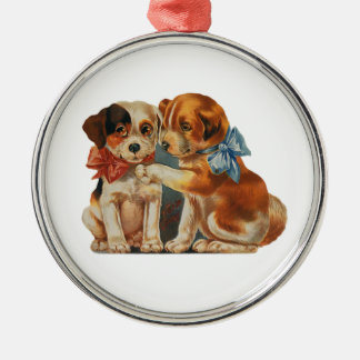 Vintage Cute Valentine's Puppy Love, Two Dog Mutts Round Metal Christmas Ornament