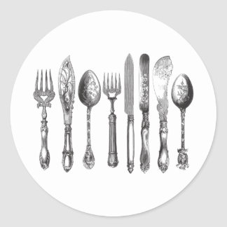 Vintage Cutlery Black White Fork Spoon Knife 1800s Classic Round Sticker