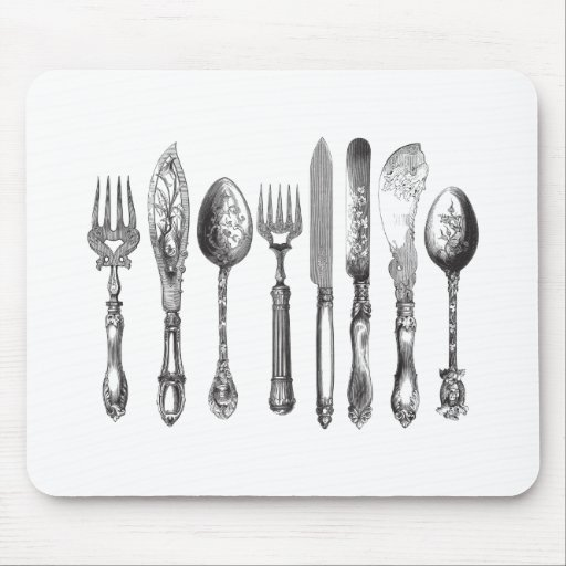 Vintage Cutlery Black White Fork Spoon Knife 1800s Mousepads