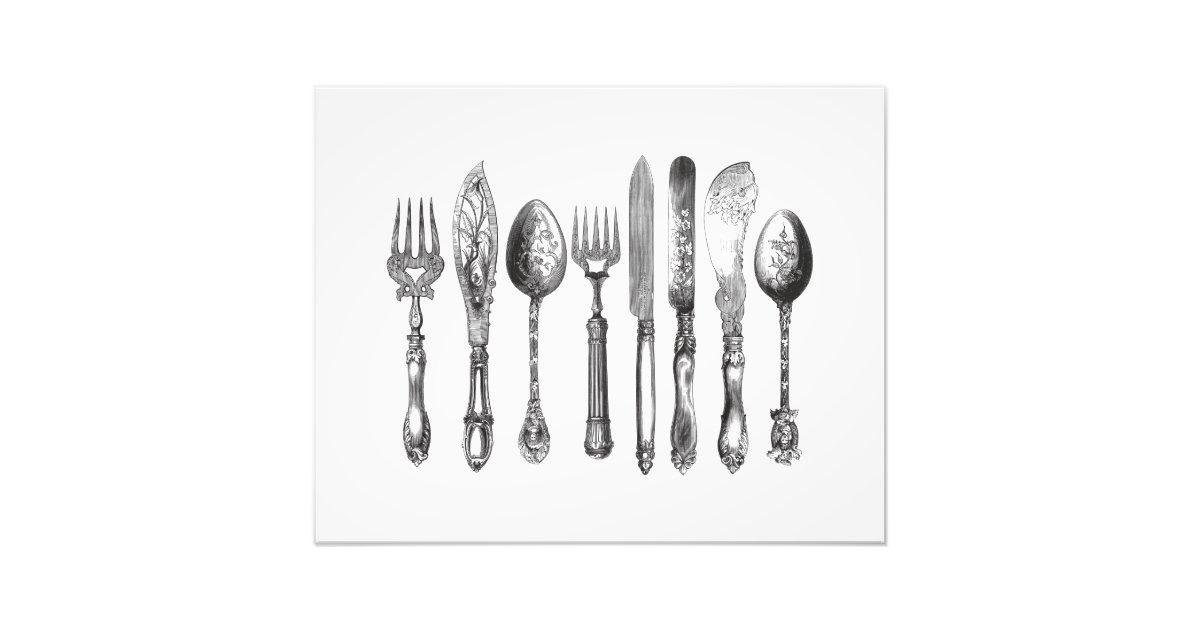 Vintage Cutlery Black White Fork Spoon Knife 1800s Photo