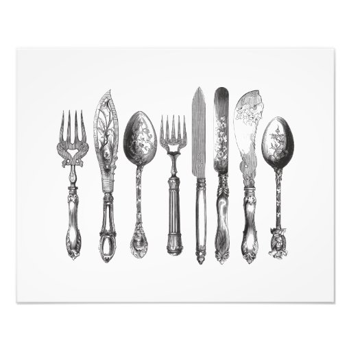 Vintage Cutlery Black White Fork Spoon Knife 1800s Photographic Print