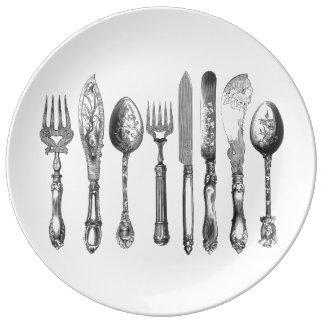 Vintage Cutlery Black White Fork Spoon Knife 1800s Porcelain Plate