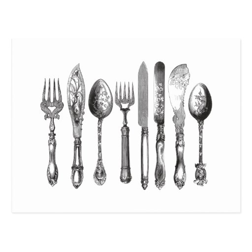 Vintage Cutlery Black White Fork Spoon Knife 1800s Postcards