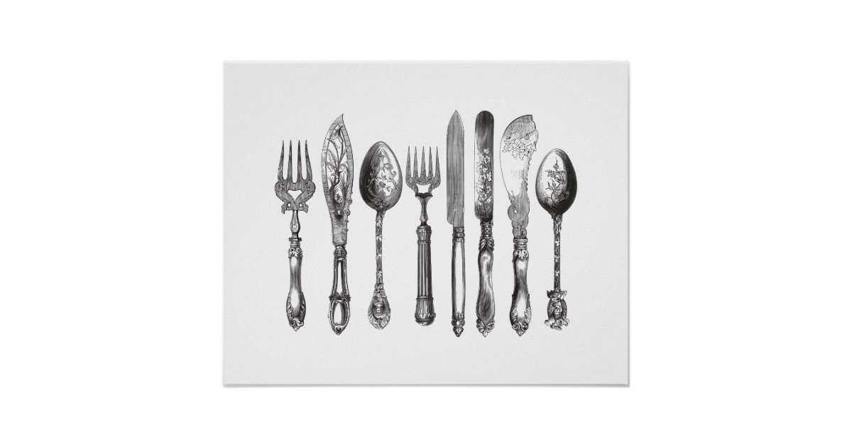 Vintage cutlery black white fork spoon knife 1800s poster zazzle com