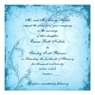 Vintage cyan blue scroll leaf invitation