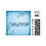 Vintage cyan blue scroll leaf RSVP stamp