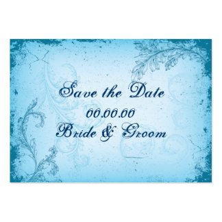 Vintage cyan blue scroll leaf Save the Date Large Business Cards (Pack Of 100)