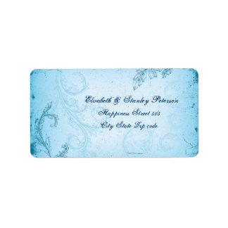 Vintage cyan blue scroll leaf wedding label