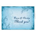 Vintage cyan blue scroll leaf wedding Thank You Card