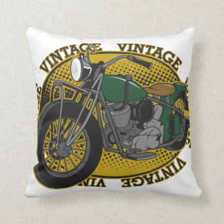 Vintage Cycle Rider Throw Pillow