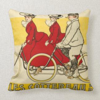 Vintage Cycles Cottereau by René Vincent Throw Pillow