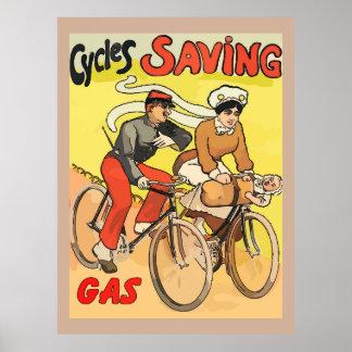 Vintage Cycles Saving Gas Poster