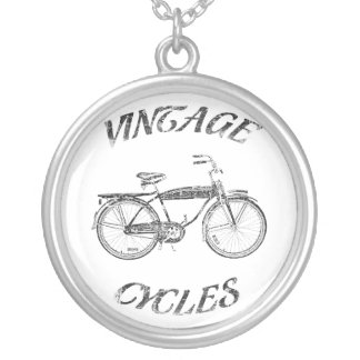 Vintage cycles silver plated necklace