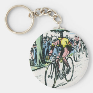 Vintage Cycling Print Basic Round Button Keychain