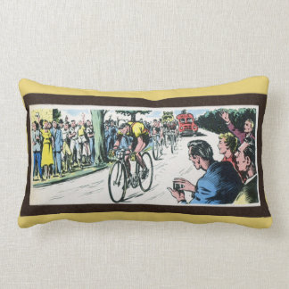 Vintage Cycling Print Lumbar Pillow