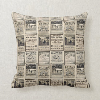 Vintage Cyclist Advertising Collage Pillow