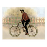 Vintage Cyclist in the Country Postcard