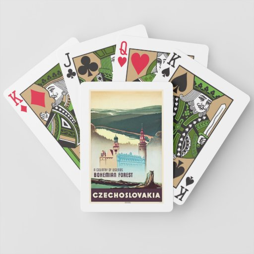 Vintage Czech Bohemian Forest Travel Poster Bicycle Playing Cards