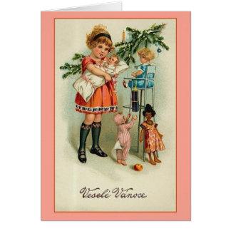Vintage Czech Veselé Vánoce Christmas Card