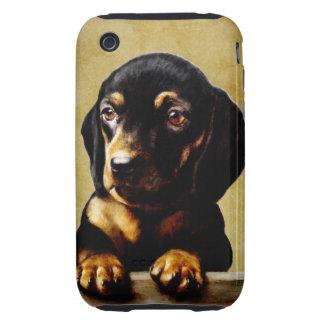 Vintage Dachshund dog art Tough iPhone 3 Cases