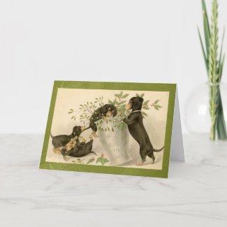 Vintage dachshund dogs christmas holiday card card