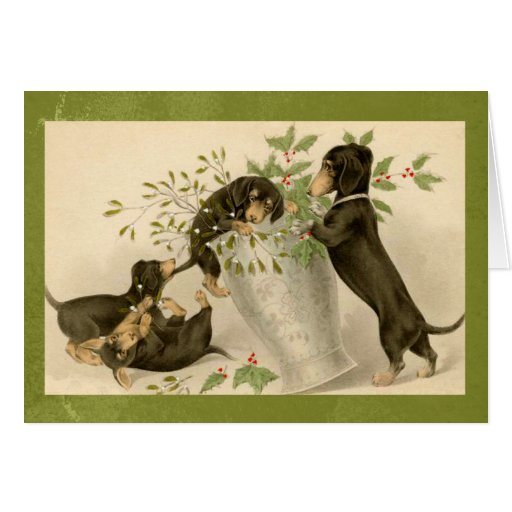 vintage dachshund christmas card
