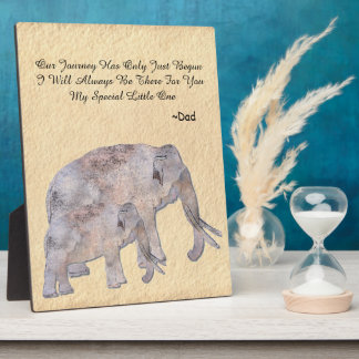 Vintage Dad and Son/Daughter Elephant Quote Easel Photo Plaque