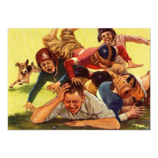 Vintage Dad Playing Football w Kids and Family Dog Card