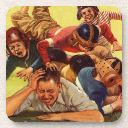 Vintage Dad Playing Football w Kids and Family Dog Coaster