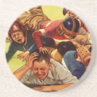 Vintage Dad Playing Football w Kids and Family Dog Drink Coaster