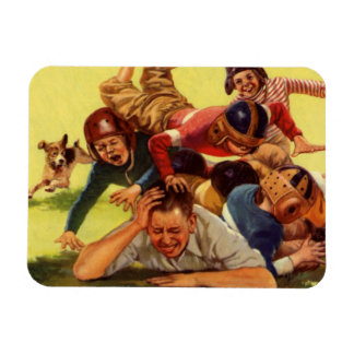 Vintage Dad Playing Football w Kids and Family Dog Magnet