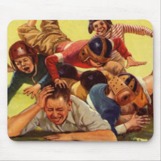 Vintage Dad Playing Football w Kids and Family Dog Mouse Pad