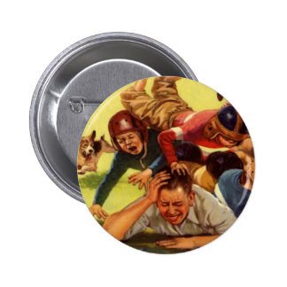 Vintage Dad Playing Football w Kids and Family Dog Pinback Button