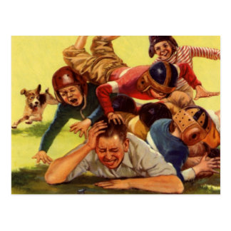 Vintage Dad Playing Football w Kids and Family Dog Postcard