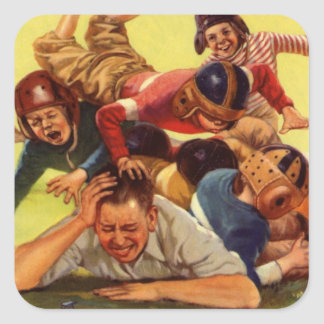 Vintage Dad Playing Football w Kids and Family Dog Square Sticker