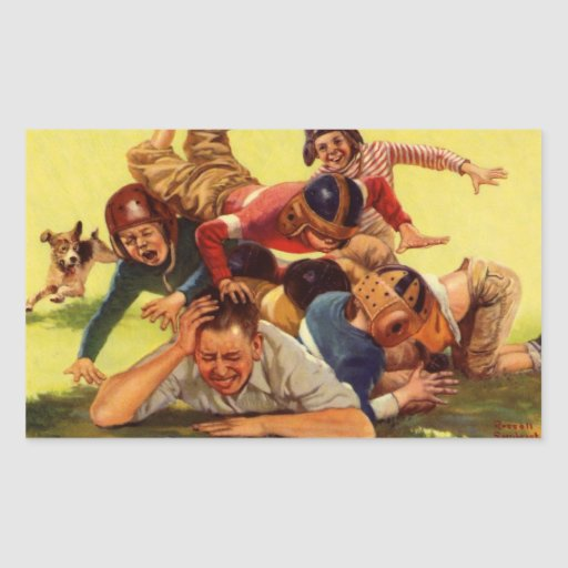 Vintage Dad Playing Football w Kids and Family Dog Rectangular Sticker