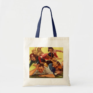 Vintage Dad Playing Football w Kids and Family Dog Tote Bag