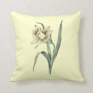 Vintage Daffodil Throw Pillow