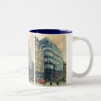 Vintage Daily Express Building on Fleet Street Two-Tone Coffee Mug