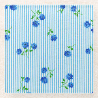 Vintage Dainty Blue Rose Shabby Seersucker Chic Glass Coaster