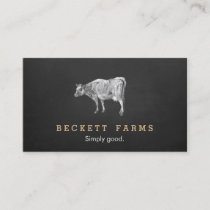 Vintage Dairy Cow Logo Rustic Country Chalkboard Business Card