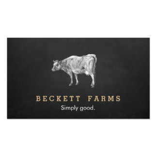 Vintage Dairy Cow Logo Rustic Country Chalkboard Double-Sided Standard Business Cards (Pack Of 100)